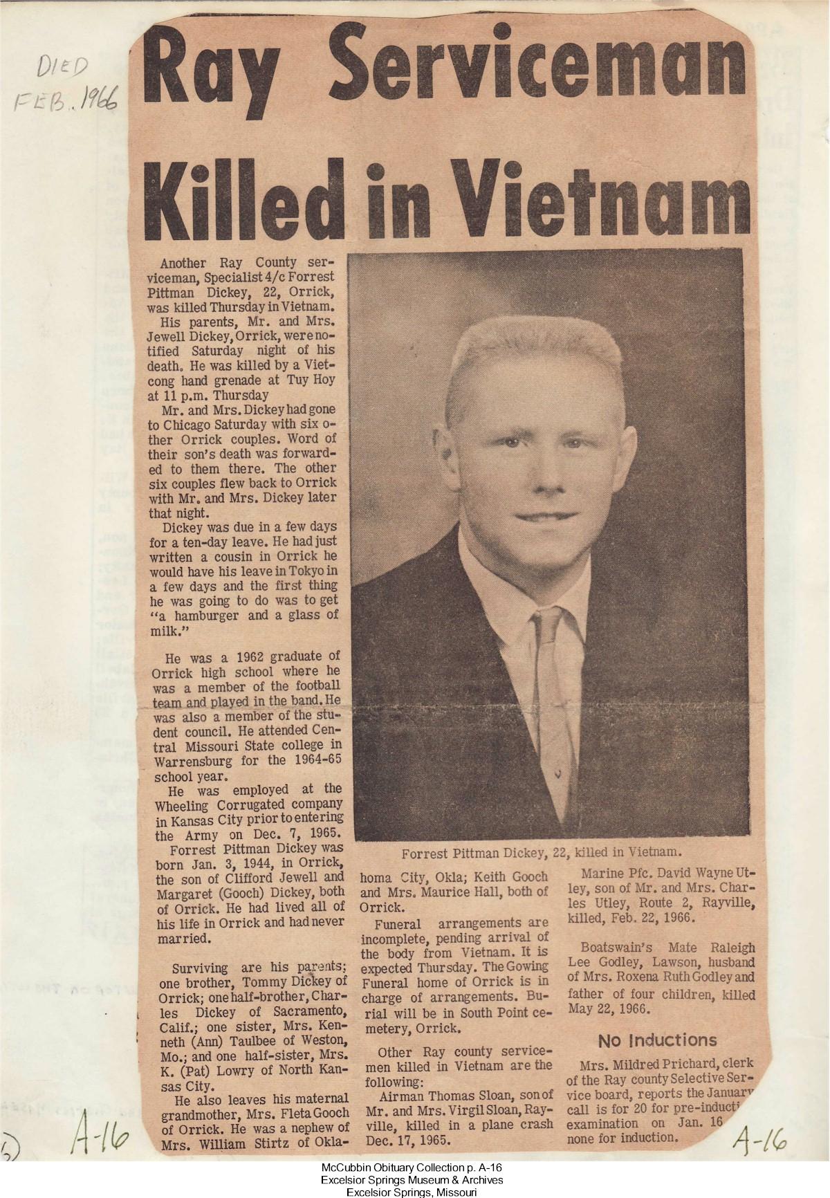 Ray County, Missouri, Genealogy Resources, Vietnam War